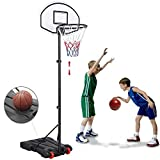 Topeakmart Court Height Adjustable Portable Kids Basketball System Up to 8.2ft