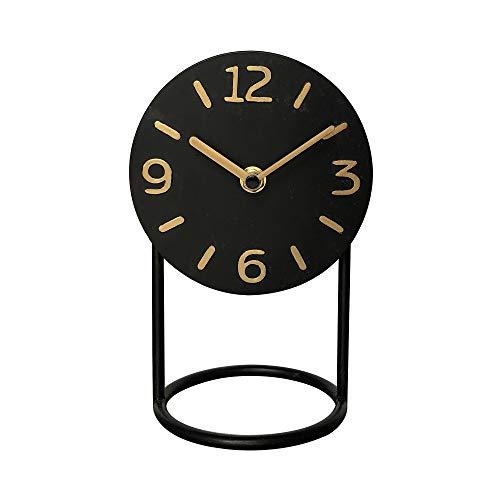 NIKKY HOME Leise Eisen Tischuhr mit Sockel Kein Ticken für Wohnzimmer Schlafzimmer Heimtextilien 13 x 11 x 20 cm Schwarz