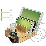 TechDot Estación de carga USB de bambú para teléfono...