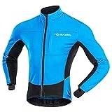 MUCUBAL Men's Cycling Jacket Windproof and Water-Resistant Coat Winter Thermal Breathable Bike Windbreaker(Blue,XL)