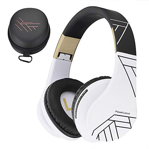 PowerLocus Bluetooth Cuffie Auricolari Pieghevoli, Over Ear Bluetooth Headphones Stereo Senza Fili Cuffie o Collegate Headset con Microfono, Micro SD/TF, FM per iPhone/Samsung/iPad/PC (Nero/Bianco)