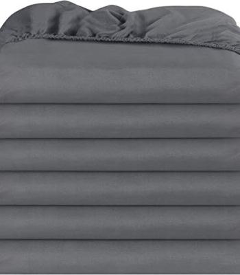Utopia Bedding Fitted Sheets - Pack of 6 Bottom Sheets - Soft Brushed Microfiber - Deep Pockets, Wrinkle, Shrinkage & Fade Resistant - Easy Care (Twin, Grey)