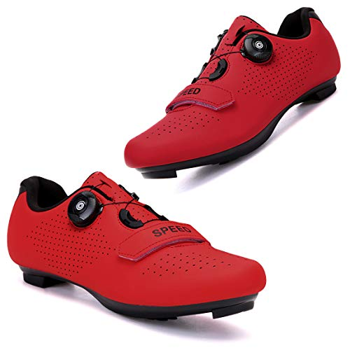 Etaclover Men's 2021 Road Bike Shoes Women's Indoor Cycling Exercise Shoes Compatible with SPD/SPD-SL Cleats for Lock Pedal Bike Shoes MTB Outdoor Mountain Bike Shoes All Red