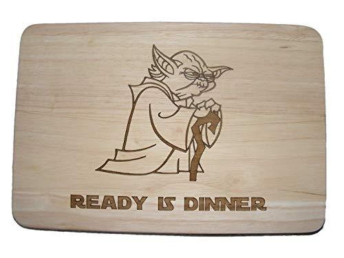 Tabla de cortar de madera con grabado a láser, diseño de Yoda, de La guerra de las galaxias, con...