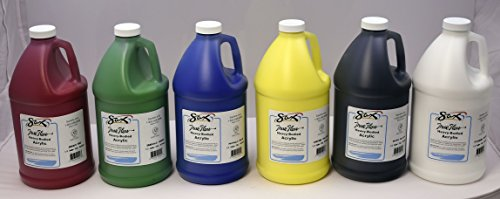 Sax True Flow Heavy Body Acrylic Paint, 1/2 Gallon, Assorted Colors, Set of 6 - 439307