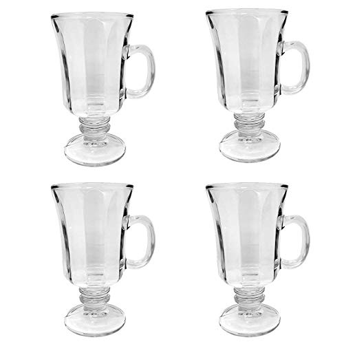 Set of 4 Glass Footed Irish Coffee Mugs 8.25 oz. Cappuccinos, Mulled Ciders, Hot Chocolates, Ice cream and More!