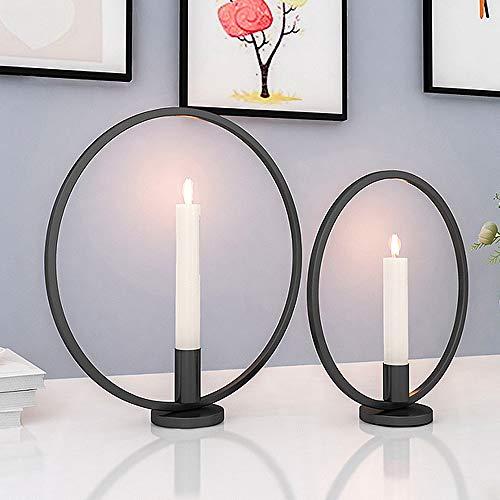 GoMaihe Retro Kerzenhalter 2 Set in Unterschiedlicher Größe, 29/23cm Antik Kerzenständer Eisen Deko Rund Geformt Kerzenleuchter, Kerzen Ständer Tischdeko Hochzeit, Schwarz.MEHRWEG