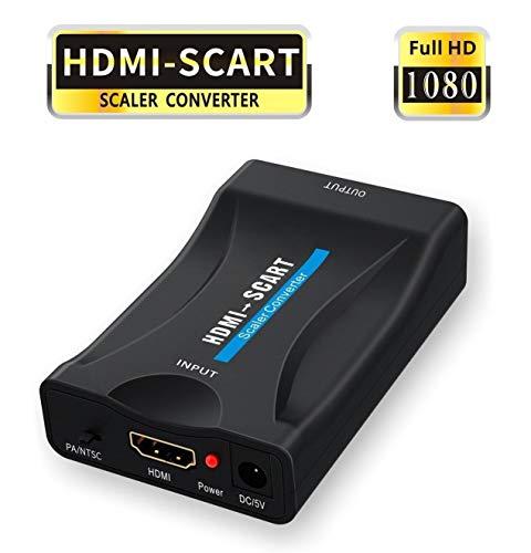 GANA Adattatore da HDMI a SCART HDMI to Scart Convertitore 1080P HDMI a Scart Adattatore 60 Hz HD per PS3 Sky Dvd Blu-Ray