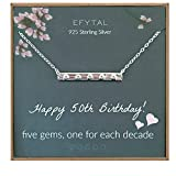 EFYTAL 50th Birthday Gifts for Women, 925 Sterling Silver Five CZ Bar Necklace For Her, 5 Decade Jewelry 50 Years Old