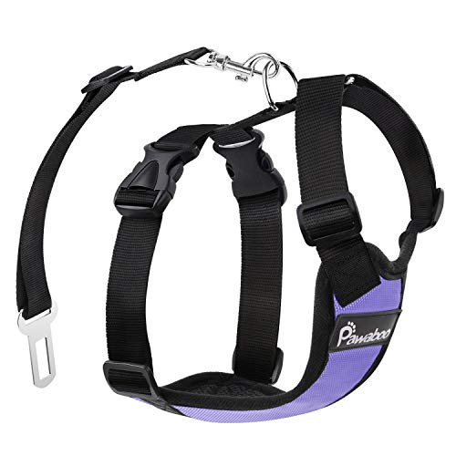 Pawaboo Dog Safety Vest Harness, Pet Car Harness Vehicle Seat Belt with Adjustable Strap and Buckle Clip, Easy Control for Driving Traveling Safety for Small Medium Dogs Cats, XL, Purple