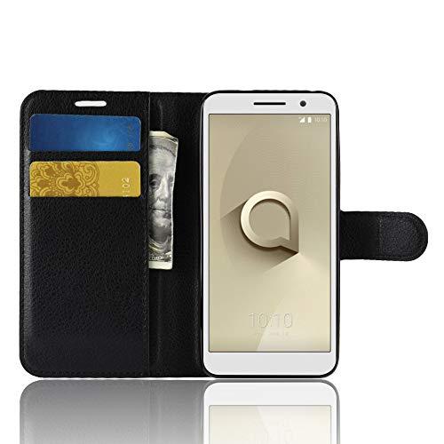SPAK Alcatel 1,Vodafone Smart E9 Custodia,Premium PU Protective Guscio Protettiva in Pelle Protective Cover per Alcatel 1,Vodafone Smart E9 (Nero)