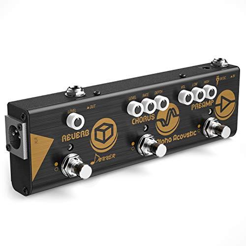 Donner Mini Effect Chain Alpha Acoustic Guitar Effect Pedal Acoustic Preamp, Chorus and Hall Reverb