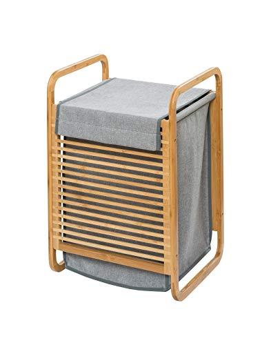 WENKO Wäschetruhe Bahari - Wäschekorb Fassungsvermögen: 43 l, Bambus, 40 x 60 x 35 cm, Braun