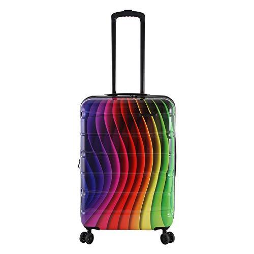 Rada Aero Vortex Reisekoffer, Hartschale aus ABS, klein, mittel, groß, Kofferset, Trolley mit Motiv, TSA-Schloss und 4 Rollen (Rainbow, M | 67cm)