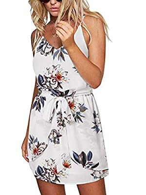 Material: The floral printed mini dress is made of breathable and soft polyester without elastic, it is lightweight, skin-friendly and comfortable. Feature: Sexy casual summer dress, v neck and v backless, sleeveless sundress, floral printed, bow wai...