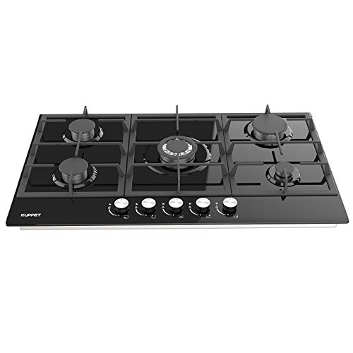 """34"""" Built-in Gas Cooktop - KUPPET GHG915 Stove with 5 Booster Burners Smooth Surface Black Tempered Glass Stainless Steel (5 Booster), ETL Safety Certified"""
