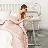 Cloud Baby Bassinet with Music Box and Wheels, Adjustable and Easy to Assemble Bedside Crib for Babies, Infant, Newborn, Lightweight, Bedside Sleeper for Safe Co-Sleeping with Detachable Side Panel