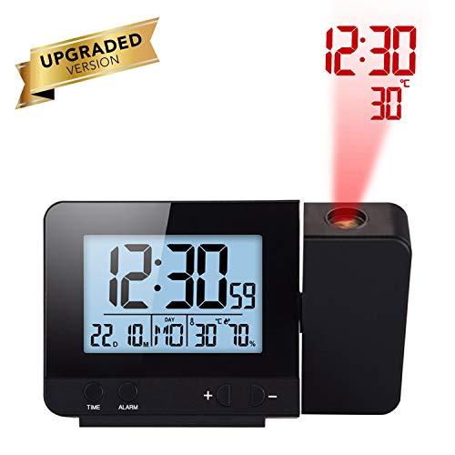 Houkiper LED Display Proiettore Orologio con Retroilluminazione Alimentato a Batteria Ruota Sveglia...