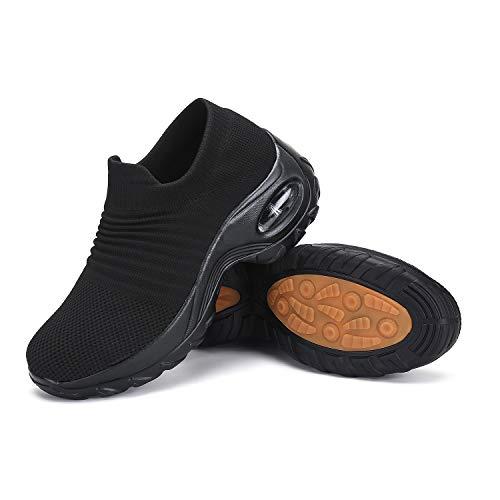 Zapatos Deportivas Mujer Zapatillas Running Transpirable Calzado Casual Ligero Bambas para Caminar Negro, Gr.36 EU