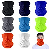 Dapaser 8 Pack Reusable Cooling Neck Gaiter Face Cover Balaclava UV Protection Breathable Bandanas Scarf for Women Men