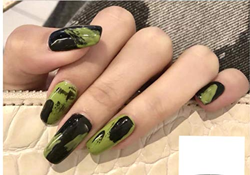 Sither 24 Pcs Design False Nails Medium False Tip Nails with Green Pattern Fake Tips Art Fingernails Clip on Nail for Women Teen Girls Gift Prom Party Halloween Christmas Party