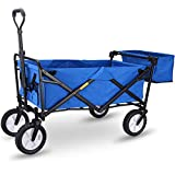 WHITSUNDAY Collapsible Folding Garden Outdoor Park Utility Wagon Picnic Camping Cart 8' Wheels with Rear Storage (Standard Size with Rear Storage, Blue)