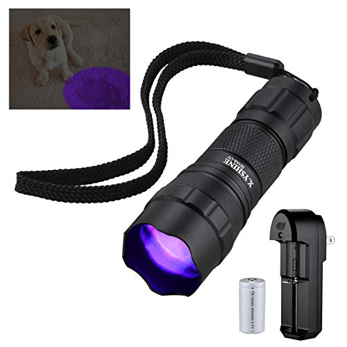 X.YSHINE LED Mini UV Black Light Flashlight,395nm Ultraviolet Pocket Zoomable Flashlights for Leak Detector, Pet Urine Stain, Bed Bug with 16340 Rechargeable Battery & Charger included