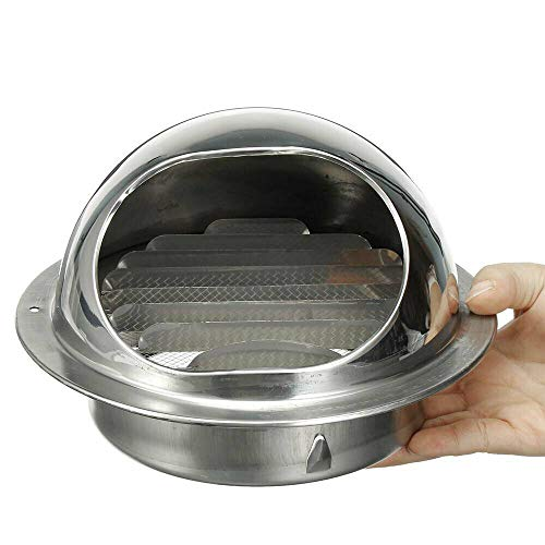 Senrise - Griglia di ventilazione in acciaio inox, rotonda, per bocchette di ventilazione a parete, per scarico esterno, aria fresca, cappa di scarico (100 mm)