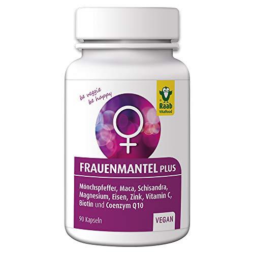 Raab Vitalfood Frauenmantel plus für Frauen, 90 Kapseln, vegan, hergestellt in Deutschland, Extrakt, mit Mönchspfeffer, Biotin, Eisen, Coenzym Q 10