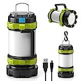 LETMY Lanterne de Camping LED Rechargeable, 3000mAh Power Bank Lampe de Camping, 6 Modes, IP65...