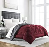 Sleep Restoration King Size Comforter for Bed - Down Alternative, Heavy, All-Season Luxury, Allergy Friendly - Hotel Bedding, Oversized Reversible Comforters, Burgundy/Grey