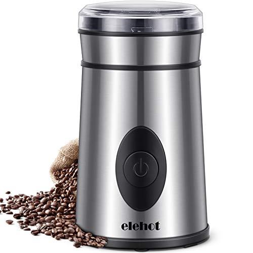 Kaffeemühle Elektrische Kaffeemühle mit Edelstahl Schlagmesser für Kaffeebohnen Nüsse Gewürze Getreide von ELEHOT