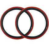 SE Bikes Cub 20 x 2.0 BMX OEM Replacement All Terrain Dirt Street Wire Bead Two Bike Tire Pair (Red Black)
