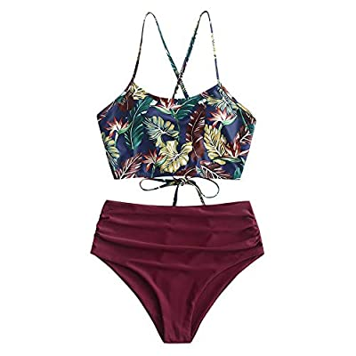 Material: Nylon,Polyester,Spandex Our Size: S--US 4, M--US 6, L--US 8,XL--US 10 Halter falbala padded swim top features back tie closure and adjustable crossing lace-up straps High waist bikini bottom features high leg cut with ruched details that of...