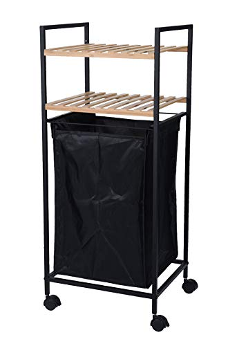 Bambus Badezimmer Regal mit Wäschekorb und Rollen - Metall Badregal Standregal Eckregal Holzregal