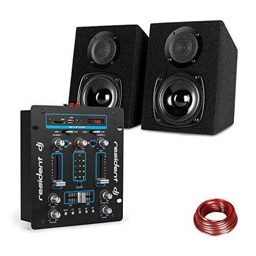 Resident DJ DJ-25 - Set Mixer per DJ + Casse auna ST-2000, Bluetooth, Altoparlanti Passivi a 2 Vie, Display LCD, Controllo Eco, Cavo per Altoparlanti da 10 m, Colore nero/blu