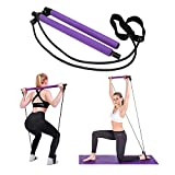 Pilates Bar Kit with Resistance Bands Exercise Stick, Home Fitness Workout Equipment for Women Purple
