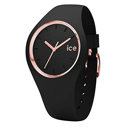 Ice-Watch - ICE glam Black Rose-Gold - Women's wristwatch with silicon strap - 000980 (Medium)