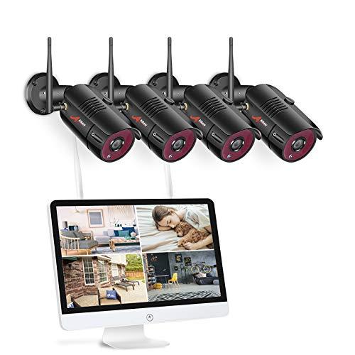 【All-In-One】Kit Videosorveglianza Wifi NVR 1080P 4 Canali con monitor LCD da 15,6 pollici, Telecamera da CCTV IP 1080P HD da esterno senza fili, Plug & Play, accesso remoto facile, con 1TB HDD SWINWAY