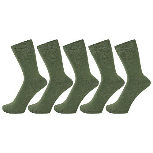 ZAKIRA Calzini Eleganti in Finissimo Cotone Pettinato dai Colori Vivaci per Uomo e Donna Confezione da 5 (Verde Militare)
