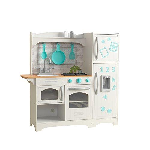 KidKraft 53424 Cucina Giocattolo in Legno per Bambini Countryside con Frigorifero Magnetico, Macchina del Ghiaccio e Accesori di Gioco Inclusi