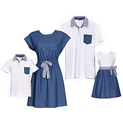 Materials:Polyester/Cotton/Spandex. Soft,Breathable,Comfortable. Mom / Daughter dress: Cap sleeve, bowknot in waistline, round neck Dad / Son T-shirt: Pocket, polo, short sleeve The family outfits matching sets is great for special events, family gat...