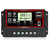 [2021 Upgraded] 30A Solar Charge Controller, Black Solar Panel Battery Intelligent Regulator with...