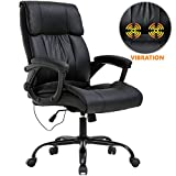 Office Chair Ergonomic Desk Chair PU Leather Computer Chair with Lumbar Support Armrest Rolling Massage Executive Chair Task Adjustable Swivel Chair for Women Adults, Black