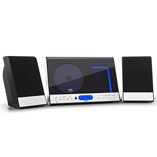 oneConcept Vertical 90 Stereoanlage Kompaktanlage Microanlage Vertikalanlage (MP3-fähiger USB-Port, UKW Radio, AUX, Sleep-Timer, Wandmontage möglich, Fernbedienung) schwarz