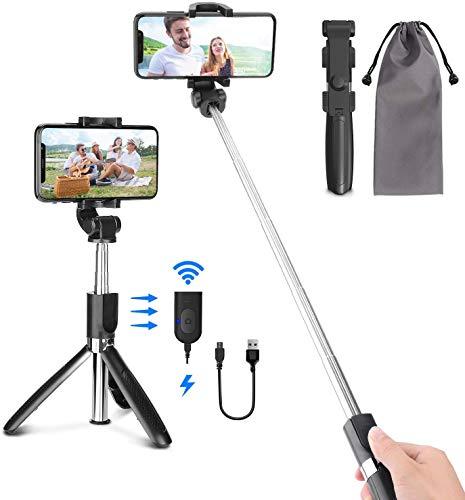PEYOU Perche Selfie Trépied avec Télécommande Rechargeable Compatible...