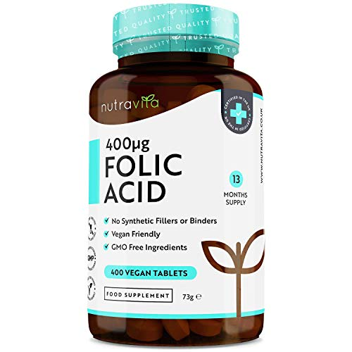 Ácido Fólico 400 mcg (Vit B9) - 400 tabletas veganas - Suministro 13 meses - Función...