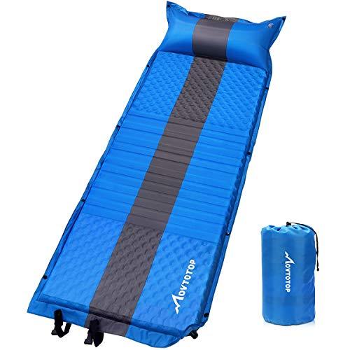 MOVTOTOP Isomatte Camping, Aufblasbare/Selbstaufblasend Luftmatratze, Komfortable Luftbett, Leichtes Matratze, Aufblasbares Schlafkissen, Ideal für Wander, Reisen und Rucksackreisen