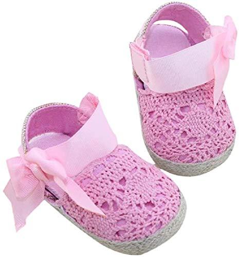Bebé Prewalker Zapatos Auxma Primeros Pasos para bebé-niñas,Zapatos de Flores de Encaje,Sandalias de Bowknot para 0-6 6-12 12-18 Meses (12-18 M, Rosado)