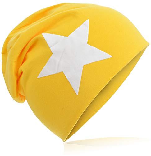 Berretto lungo in jersey, da bambino, unisex, con cotone, motivo con stella Grande stella gialla. 48-53 cm Circonferenza Della Testa
